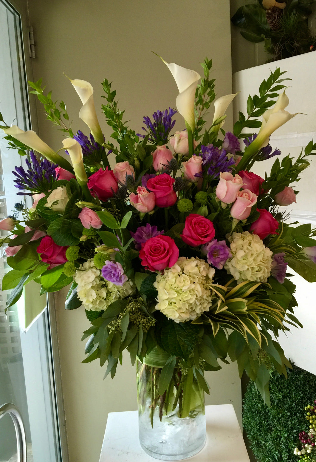 FNV83 - Pinks, Purples and White English Garden Vase Arrangement - Flowerplustoronto