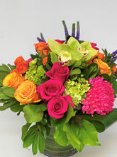 Load image into Gallery viewer, F168 - Modern Bold Coloured Vase Arrangement - Flowerplustoronto