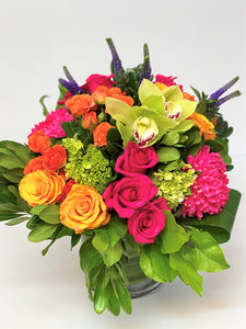 F168 - Modern Bold Coloured Vase Arrangement - Flowerplustoronto