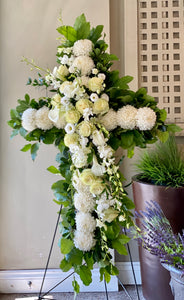 FNS60 - Cross accented with White Roses and Orchids - Flowerplustoronto