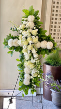 Load image into Gallery viewer, FNS60 - Cross accented with White Roses and Orchids - Flowerplustoronto