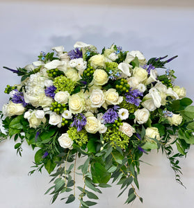 FNC32 - Classic White and Blues Casket Arrangement - Flowerplustoronto