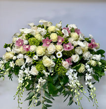 Load image into Gallery viewer, FNC6 - Elegant White and Pink Open Casket Arrangement - Flowerplustoronto