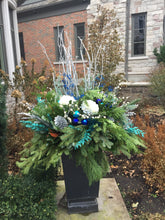 Load image into Gallery viewer, WP49 - Modern Blue, Teal and Silver Winter Planter - Flowerplustoronto
