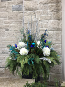 WP49 - Modern Blue, Teal and Silver Winter Planter - Flowerplustoronto