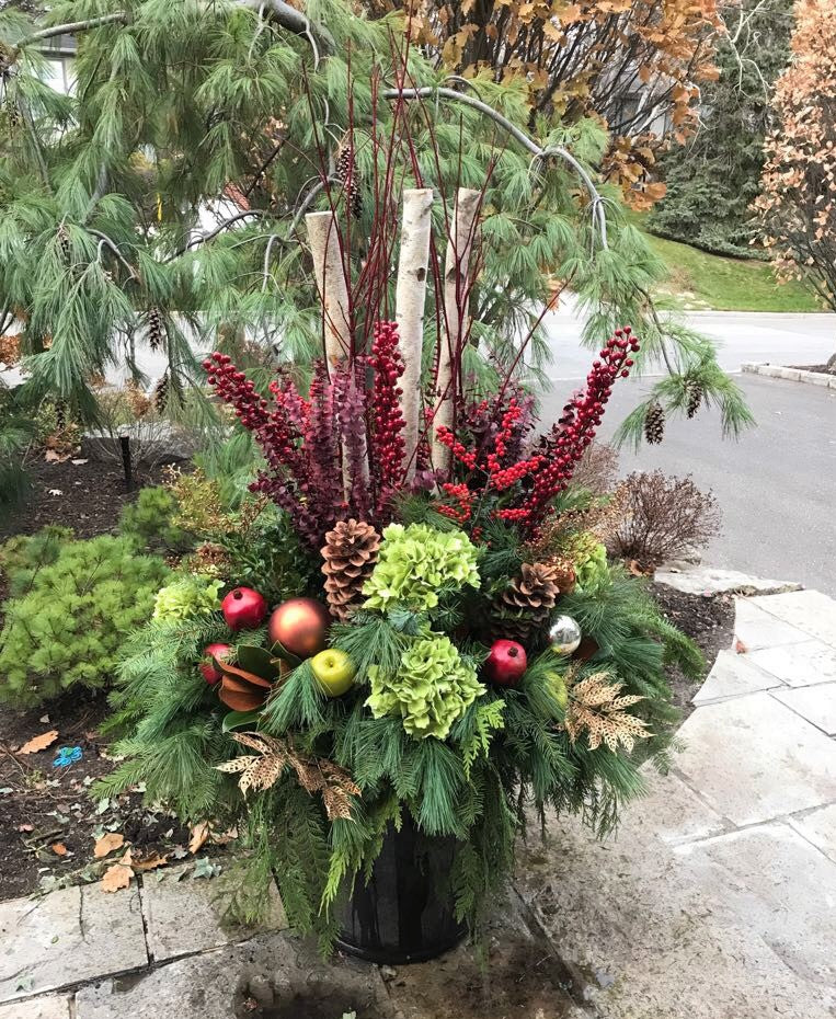 WP46 - Classic Winter Planter with Eucalyptus - Flowerplustoronto