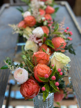 Load image into Gallery viewer, F132 - Coral and White Arrangements, Runner Design Along the Table - Flowerplustoronto