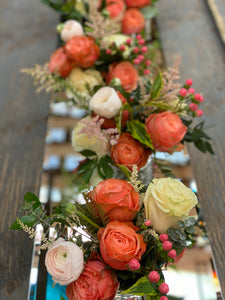 F132 - Coral and White Arrangements, Runner Design Along the Table - Flowerplustoronto