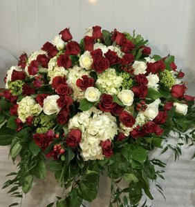 FNC24 - Classic Red and White Rose Casket Arrangement - Flowerplustoronto