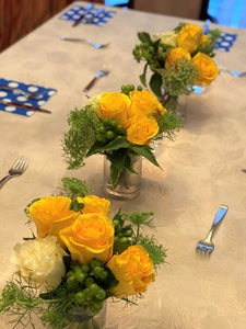 F148 - Yellow and White Small Arrangements, Series Design Along the Table - Flowerplustoronto