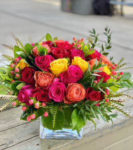 F111- Vibrant Rose Nosegay Arrangement - Flowerplustoronto