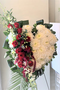 FNS3 - Solid Heart accented with Roses and Orchids - Flowerplustoronto