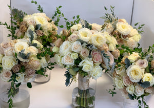 Nudes and Ivory Hand-tied Bridal Bouquet and Bridesmaids Bouquets - Flowerplustoronto
