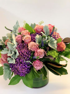 F188 - Modern Purple Vase Arrangement - Flowerplustoronto