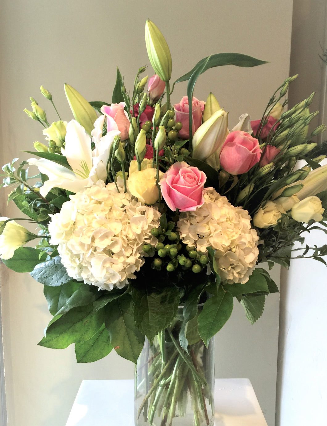 FNV77 - Classic White and Pink Vase Arrangement - Flowerplustoronto