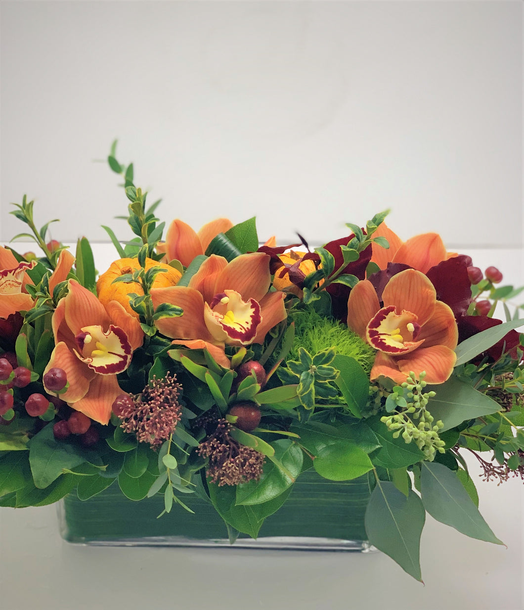 F152 -  Fall Cymbidium Orchid Centerpiece - Flowerplustoronto