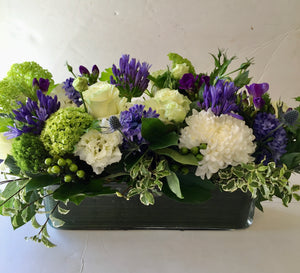 F157 - Modern White and Purple Rectangular Centerpiece - Flowerplustoronto