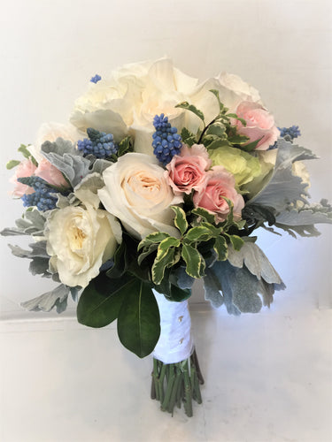 Blush, White and Light Blue Hand-tied Bridal Bouquet - Flowerplustoronto