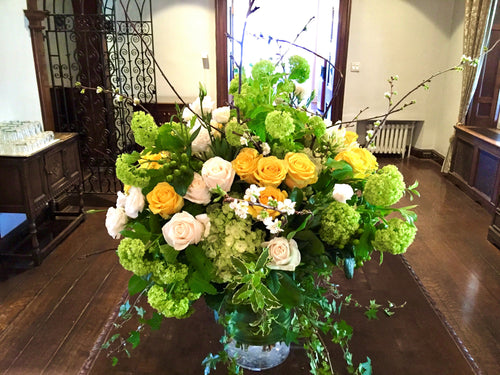 E15 - Yellow and White Reception Table Arrangement - Flowerplustoronto