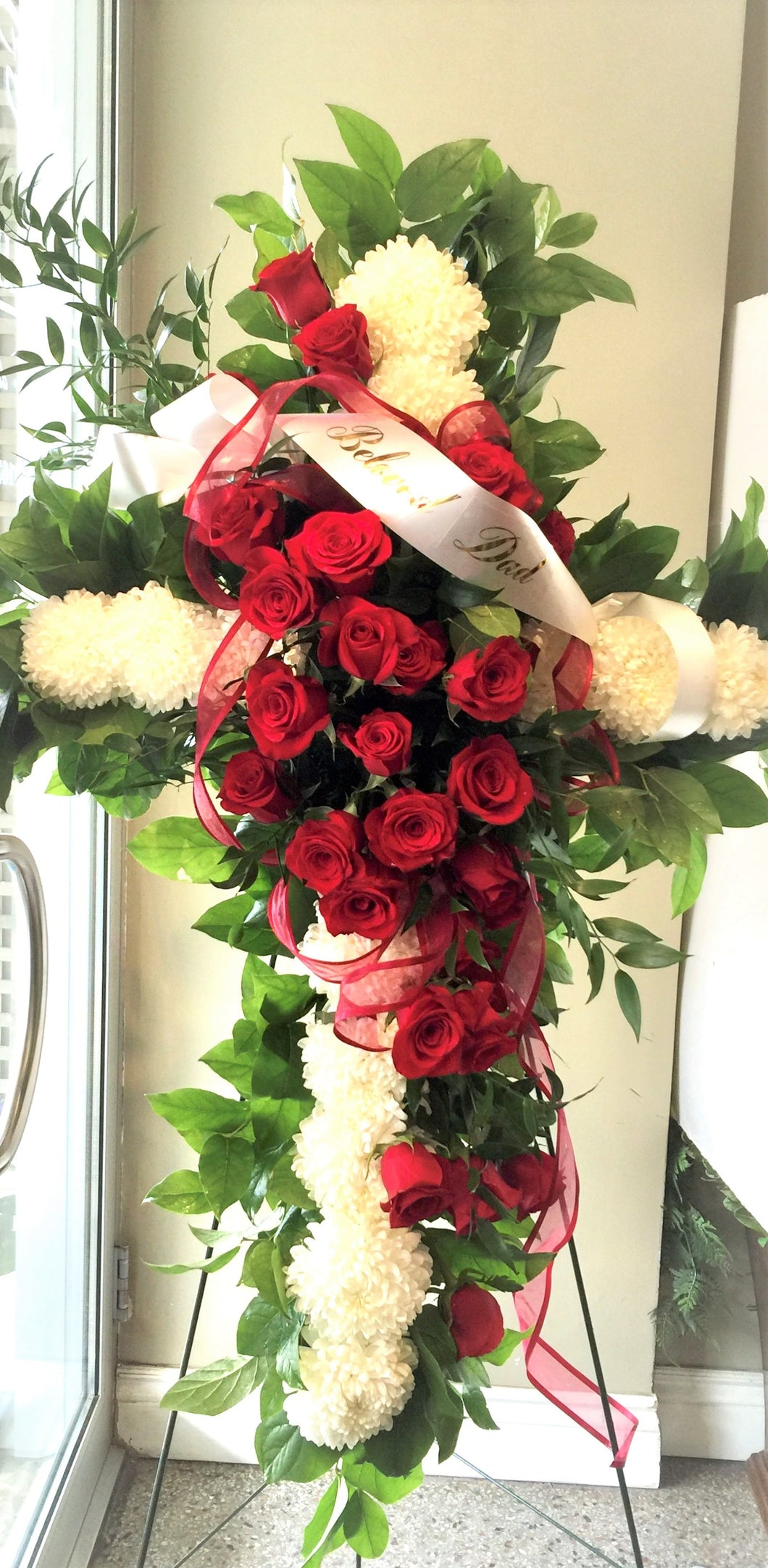 FNS5 - Cross accented with Red Roses - Flowerplustoronto
