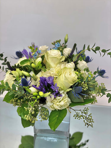 F187 - Modern White, Purple and Blue Vase Arrangement - Flowerplustoronto