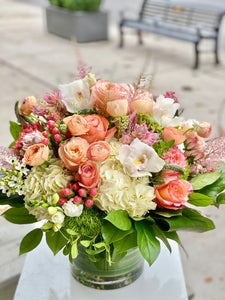 F185 - Peach and Apricot Vase Arrangement - Flowerplustoronto
