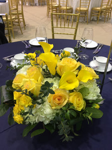 E51 - Yellow and White Centerpiece - Flowerplustoronto