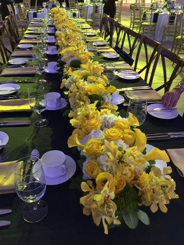 E8 - Yellow and White Table Centerpieces - Runner Design - Flowerplustoronto