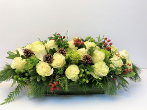 X33 -  Lush Winter White Holiday Rectangular Centerpiece accented with Gold Baubles - Flowerplustoronto