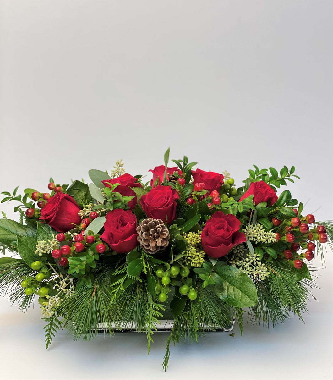 X34 - Classic Red Rose Holiday Rectangular Centerpiece - Flowerplustoronto