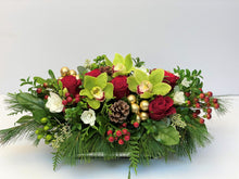Load image into Gallery viewer, X38 - Lush Red and White Holiday Rectangular Centerpiece accented with Gold Baubles - Flowerplustoronto