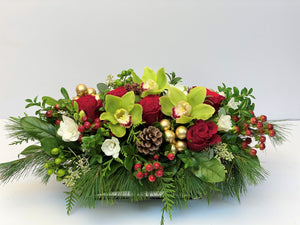 X38 - Lush Red and White Holiday Rectangular Centerpiece accented with Gold Baubles - Flowerplustoronto