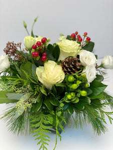 X43 - Delicate Winter White Holiday Vase Arrangement - Flowerplustoronto