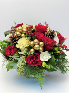 X52 - Festive Rose Vase Arrangement - Flowerplustoronto