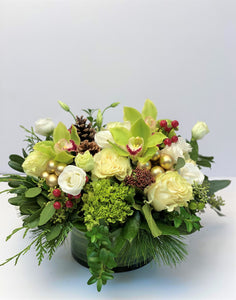 X29 - Lush Round Centerpiece accented with Gold Baubles - Flowerplustoronto