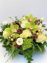 Load image into Gallery viewer, X29 - Lush Round Centerpiece accented with Gold Baubles - Flowerplustoronto