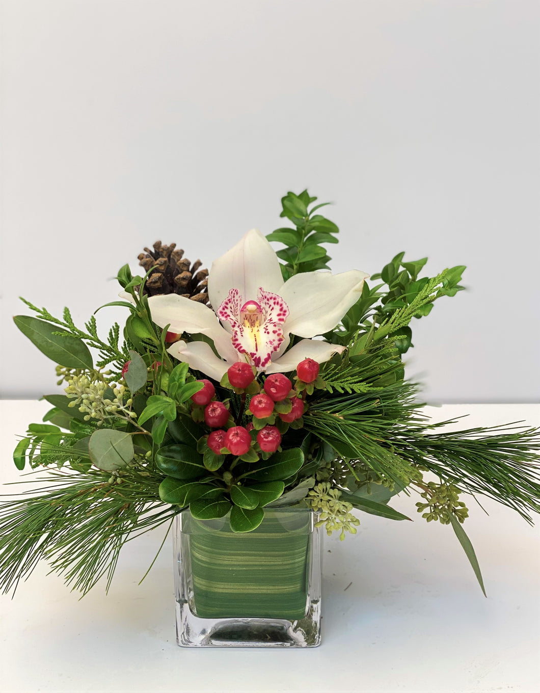 X39 - Holiday Green Cymbidium Arrangement - Flowerplustoronto