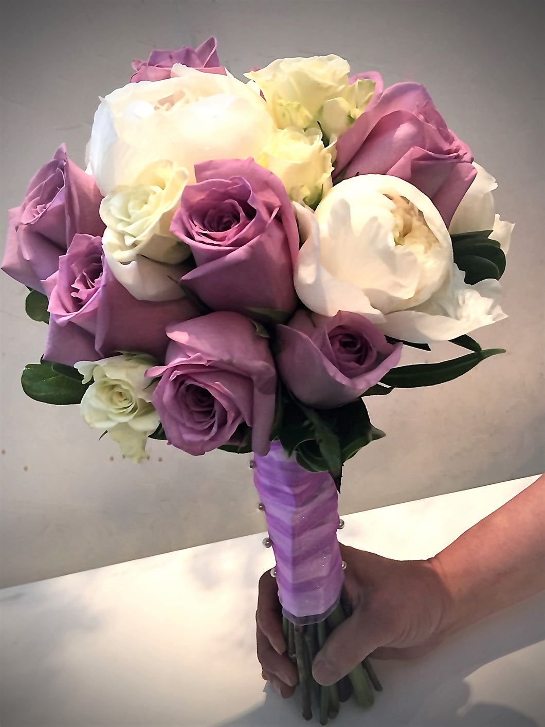Purple and White Hand-tied Bridal Bouquet - Flowerplustoronto