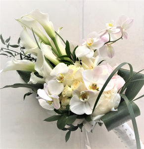 Modern White Hand-tied Bridal Bouquet - Flowerplustoronto