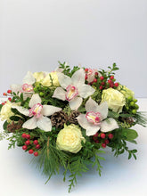 Load image into Gallery viewer, X24 - Modern White Cymbidium Orchid and Rose Round Centerpiece - Flowerplustoronto