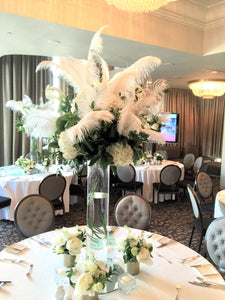 E27 - Lush White Feather Centerpieces - Flowerplustoronto