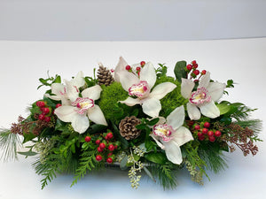 X18 -  Festive White Cymbidium Orchid Rectangular Centerpiece - Flowerplustoronto