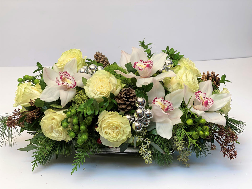 X42 -  Winter White Cymbidium Orchid and Rose Rectangular Centerpiece - Flowerplustoronto