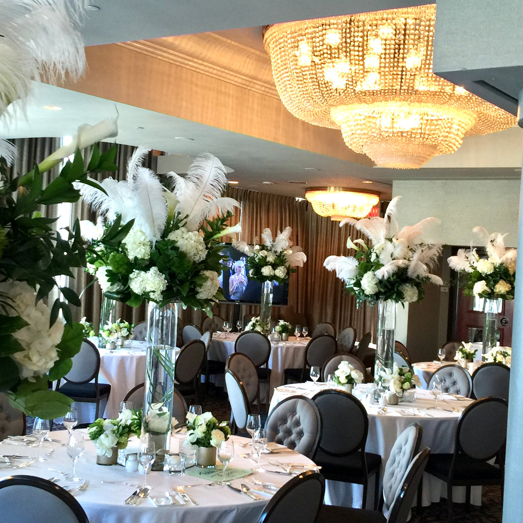 Modern White Feather, Calla Lily and White Hydrangea Wedding - Guest table  Arrangements - Flowerplustoronto