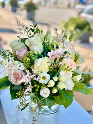 F149 - White and Pink Vase Arrangement - Flowerplustoronto