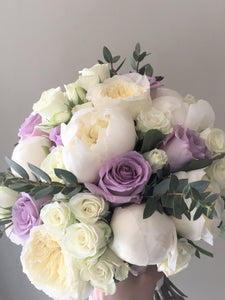 Lilac and Ivory Hand-tied Bridal Bouquet - Flowerplustoronto