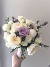 Load image into Gallery viewer, Lilac and Ivory Hand-tied Bridal Bouquet - Flowerplustoronto