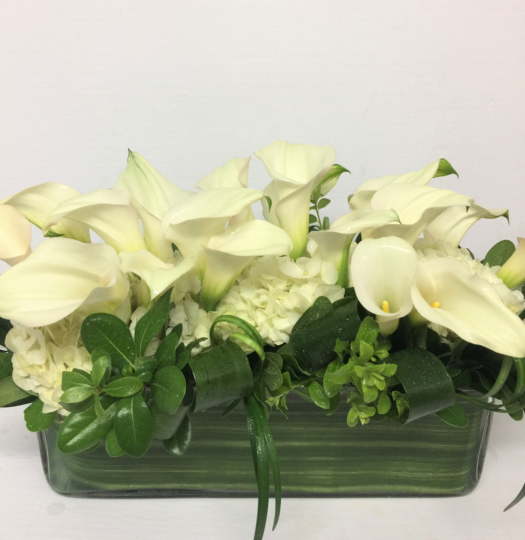 F145 - Modern Calla and White Hydrangea Rectangular Vase Centerpiece - Flowerplustoronto