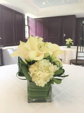 Load image into Gallery viewer, Modern Calla Lily and White Hydrangea Wedding - Guest table  Arrangements - Flowerplustoronto