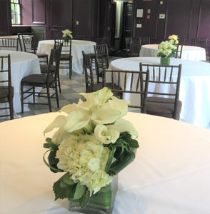 Modern Calla Lily and White Hydrangea Wedding - Guest table  Arrangements - Flowerplustoronto
